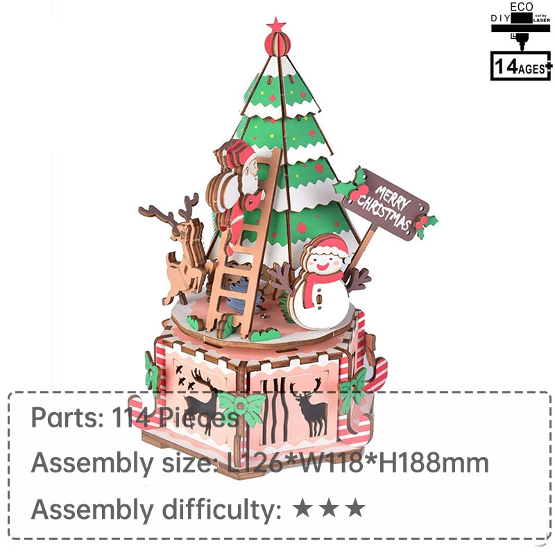 Christmas music box 3d wooden christmas gift diy music box  educational toys  learning toys for chil