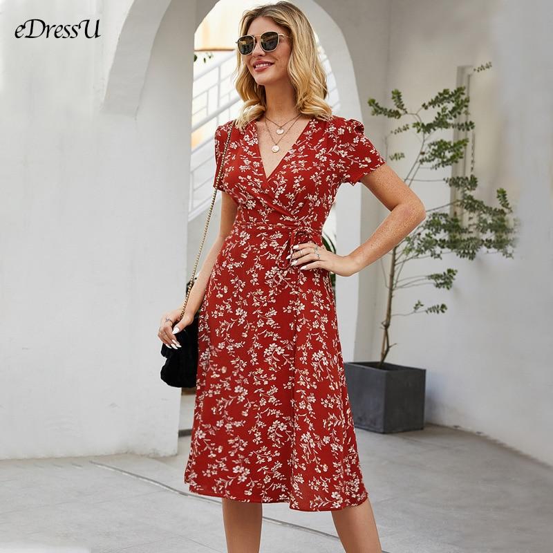 AliExpress - 2021 Summer Print Dress V Neck Floral High Waist Plus Size Midi Long Dress Boho Sexy Bohemian Daily Holiday Dress LQ-2683