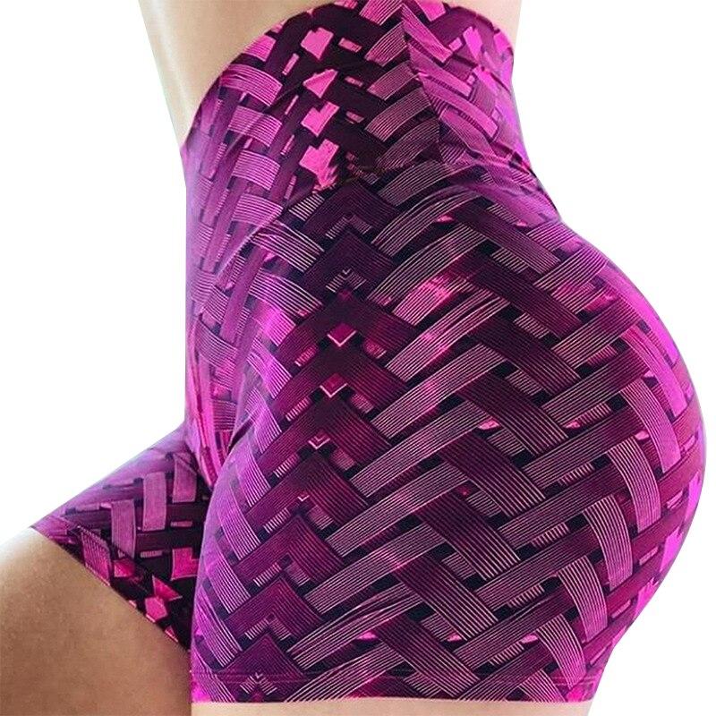 Slim Fit Soprts Short for Woman Summer 2020 New 3D Print Gym Shorts Women Irregular Striped Tights