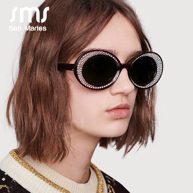 Fashion Funny Oval Sunglasses Women 2019 Oversized Round Bling Silver Circle Sun Glasses Personality Female Shades oculos de sol