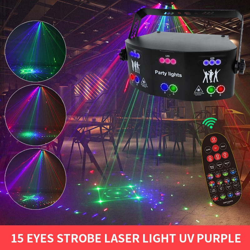 WUZSTAR New Laser Projector Beam Lights RGB LED Lamp With Voice Control Stage Night Lighting Effect For Bedroom Party Decoration enlarge