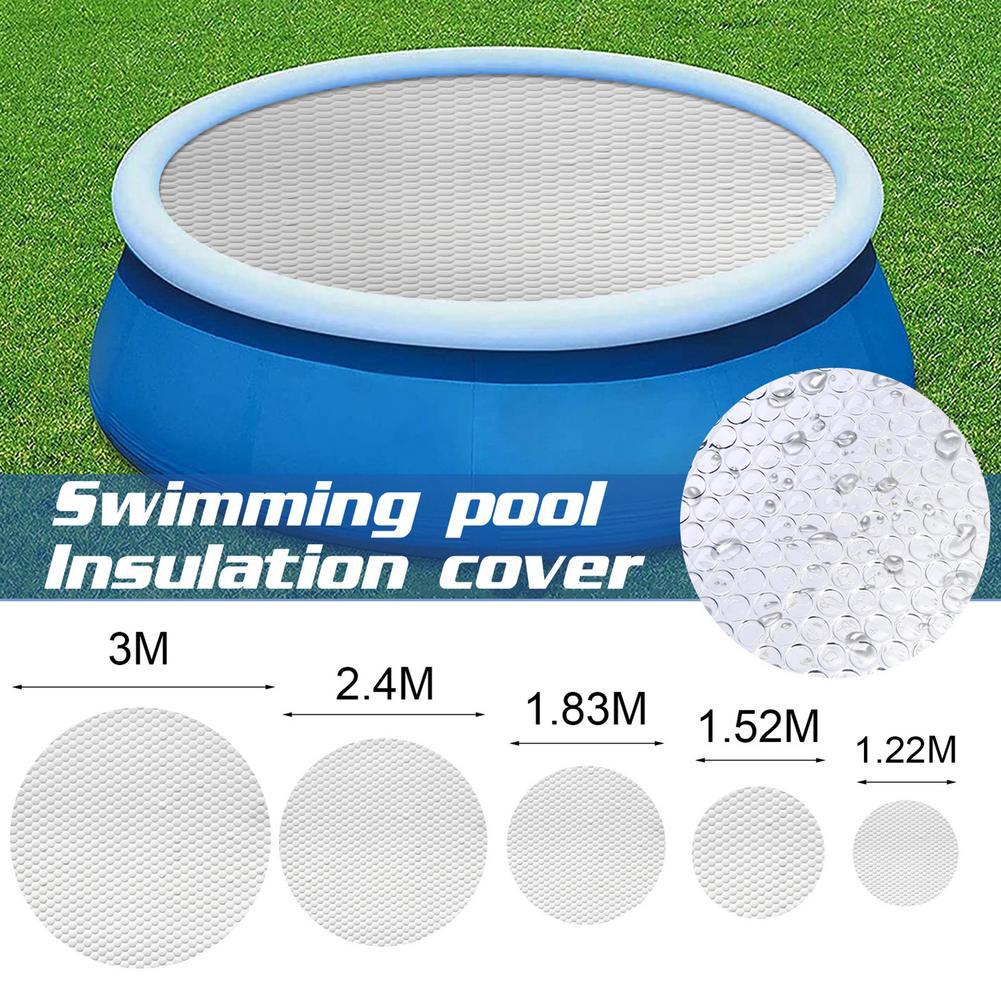 Круглая солнечная крышка для бассейна, покрытие с УФ защитой водонепроницаемые внешние горячие ванны, тепловая пленка, аксессуары для бассейна