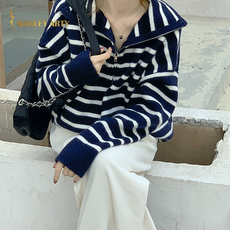 Autumn Winter Women Turtleneck Sweater Ladies Versatile Turn Down Collar Stripe Long Sleeve Knit Shirt Female Fashion Pullover enlarge