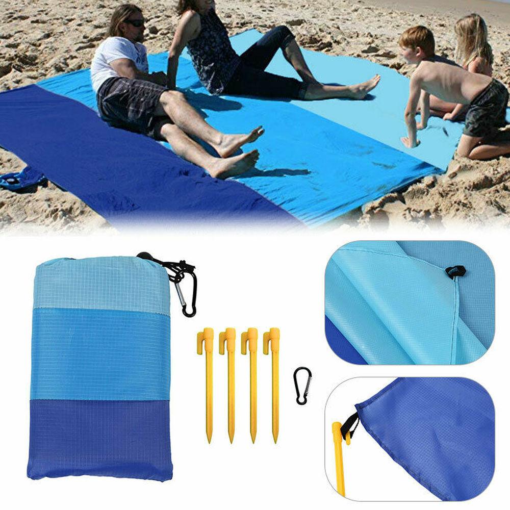 De playa al aire libre Camping Mat bolsa Peg Extra de impermeable grande bolsillo manta de Picnic a prueba de salpicaduras alfombra de cuadros de viaje