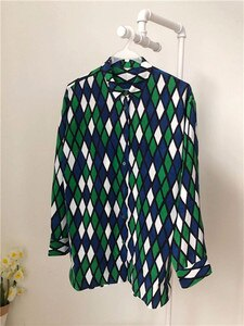 2020 New Spring Silk Women Blouse Geometric Lattice Ladis Long Sleeve Turn Down Collar Vintage Shirts And Tops