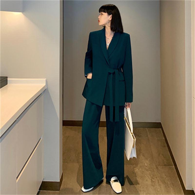Trajes de moda para mujer de primavera, traje informal nuevo estilo británico de talla grande, traje de mujer de pierna ancha con pantalones de dos piezas, talla XL-5XL
