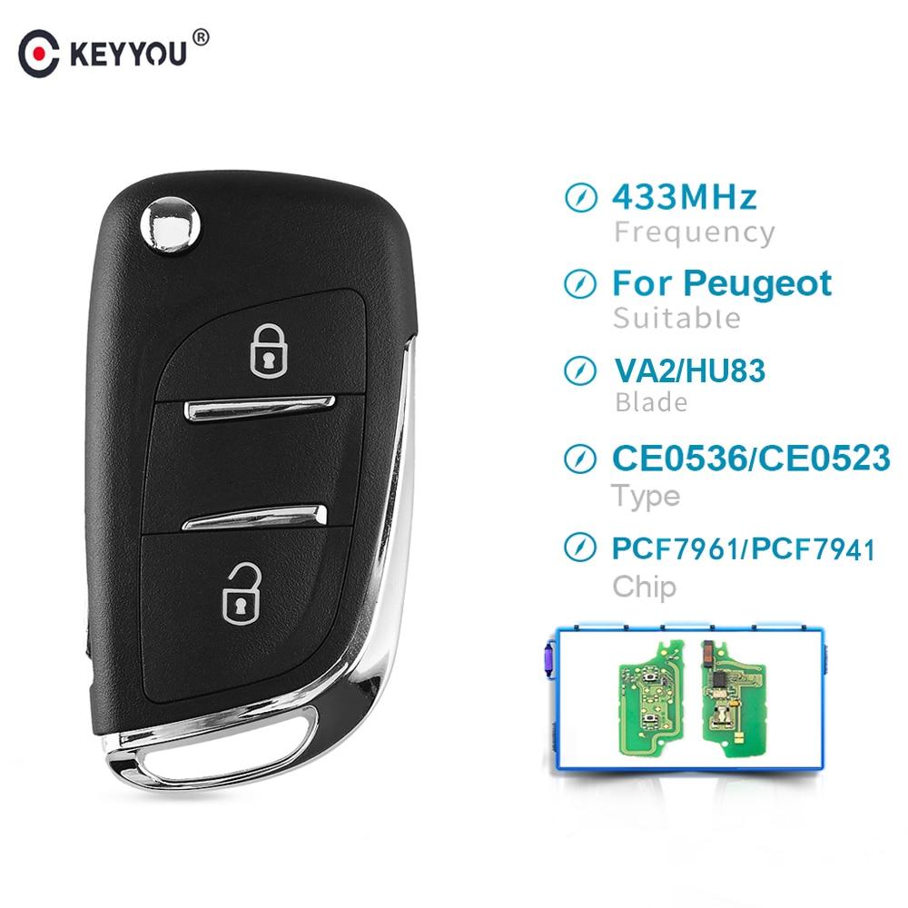 KEYYOU Ce0536 ASK 2 кнопки дистанционного ключа автомобиля 433 МГц для Citroen C2 C3 C4 C5 для Peugeot 207 208 307 308 408 pcf7961/pcf7941