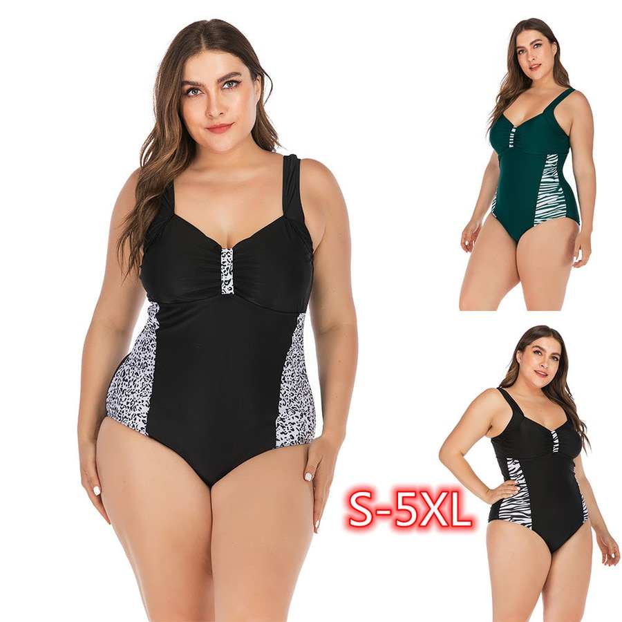 5XL 4XL 3XL Plus Size One Piece Swimsuit for Women Large One-Piece Backless Fat Monokini Bathing Suits  High Waisted Bikini 2021