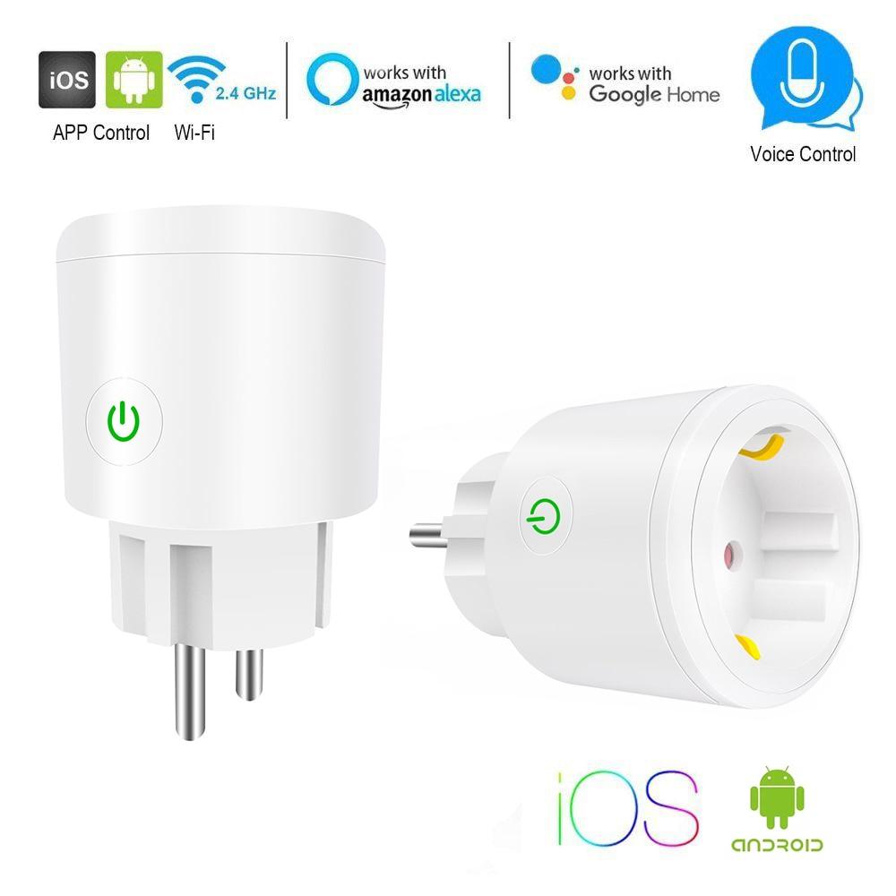 Enchufe inteligente de la UE Socket WiFi 10A/16A momento de Control de la aplicación a través de iOS Android teléfono funciona con Alexa Google Mini Control de voz