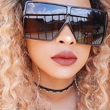 Retro Oversized Square Shades Woman Brand Designer Fashion Big Frame Flat Top Black Mirror Sunglasse