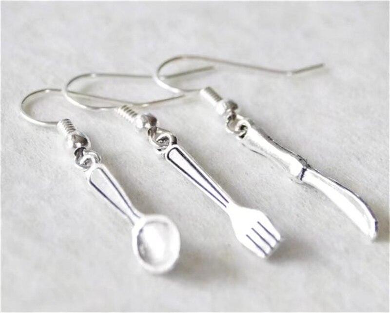 Regalo Foodie, pendientes de utensilios de Color plateado, pendientes de cocina, pendientes de cocinero, pendientes de utensilios, 3 uds, cuchara, tenedor, pendientes en forma de cuchilla