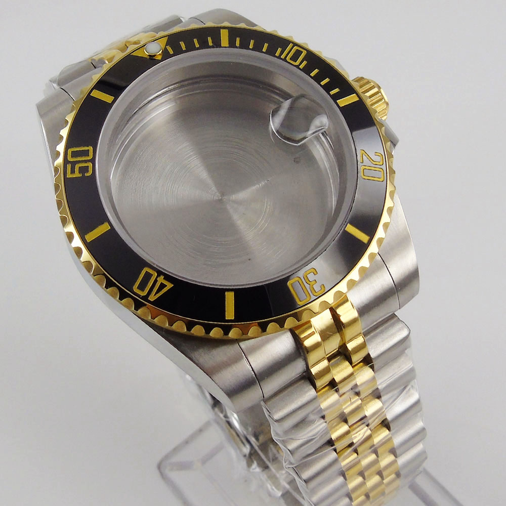 BLIGER fit NH35A NH36A ETA MIYOTA Two Tone Gold 40mm Watch Case Jubilee/Oyster Bracelet Seeing Through Backcover enlarge