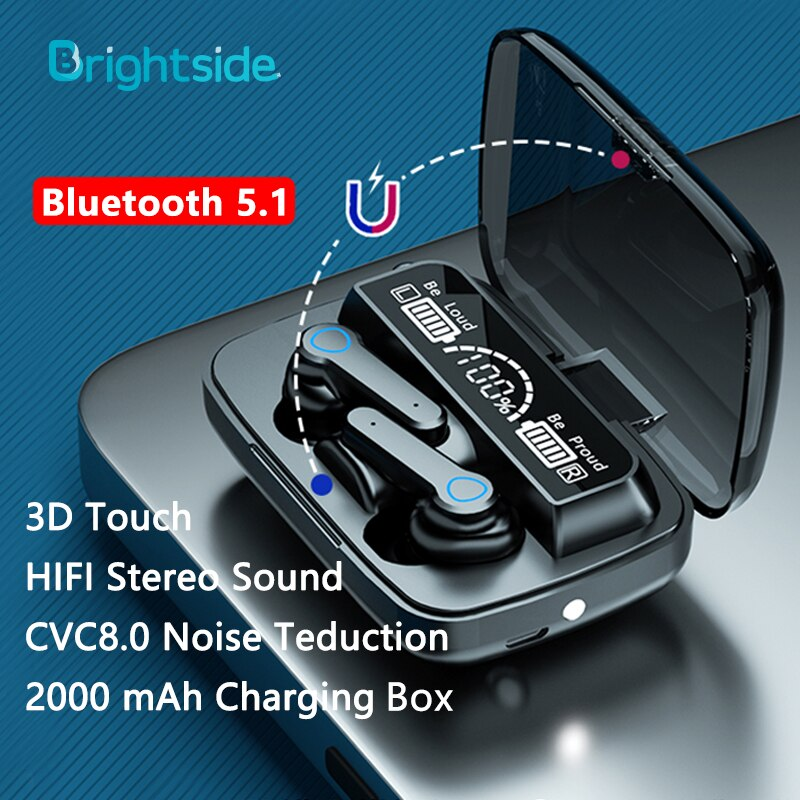 Bright side-سماعات رأس لاسلكية TWS مزودة بتقنية Bluetooth 5.1 وميكروفون وإلغاء الضوضاء وسماعة رأس استريو تعمل باللمس