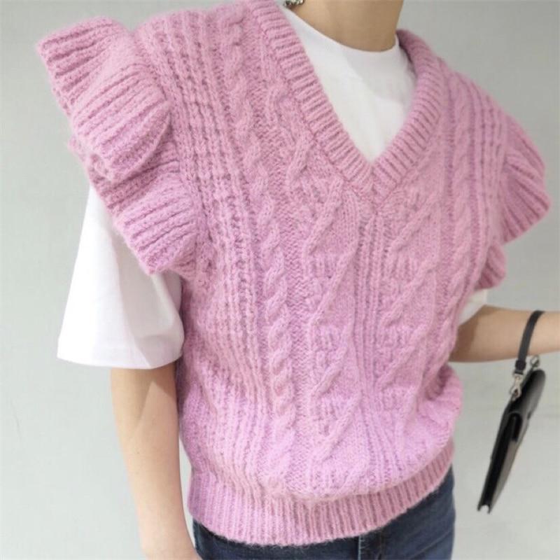 2020 novo coreano borboleta manga torção padrão de malha colete feminino casual com decote em v sem mangas outono inverno pulôver camisola colete