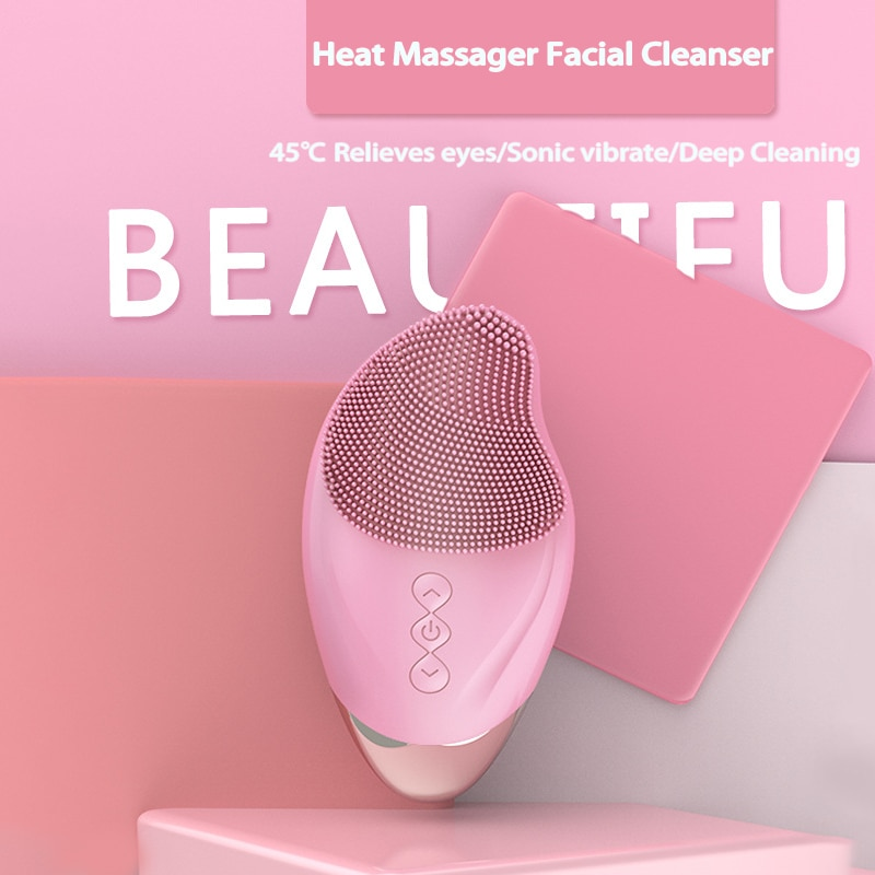 Electric Facial Cleansing Brush USB Rechargeable Skin Massage Heated Electric Facial Cleanser Silicone Face Cleansing Brush NEW недорого