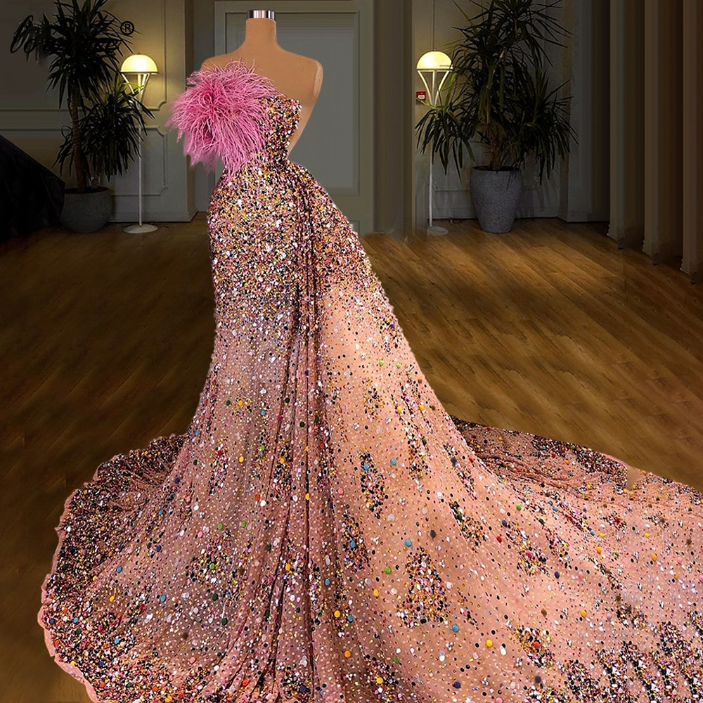 Haute Couture Luxury Celebrity Dresses 2021 Long Heavy Handmade Sparkly Evening Gowns For Women Party Dresses Abiti Da Cerimonia
