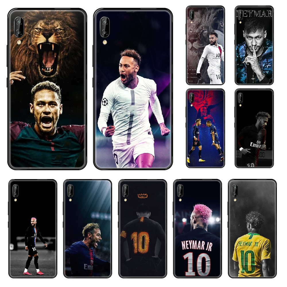 Funda de teléfono de estrella de fútbol de Brasil Neymar para Huawei Honor Mate 5 6 7 8 9 10 20 A C X Lite negro 3D Etui, funda bonita de silicona