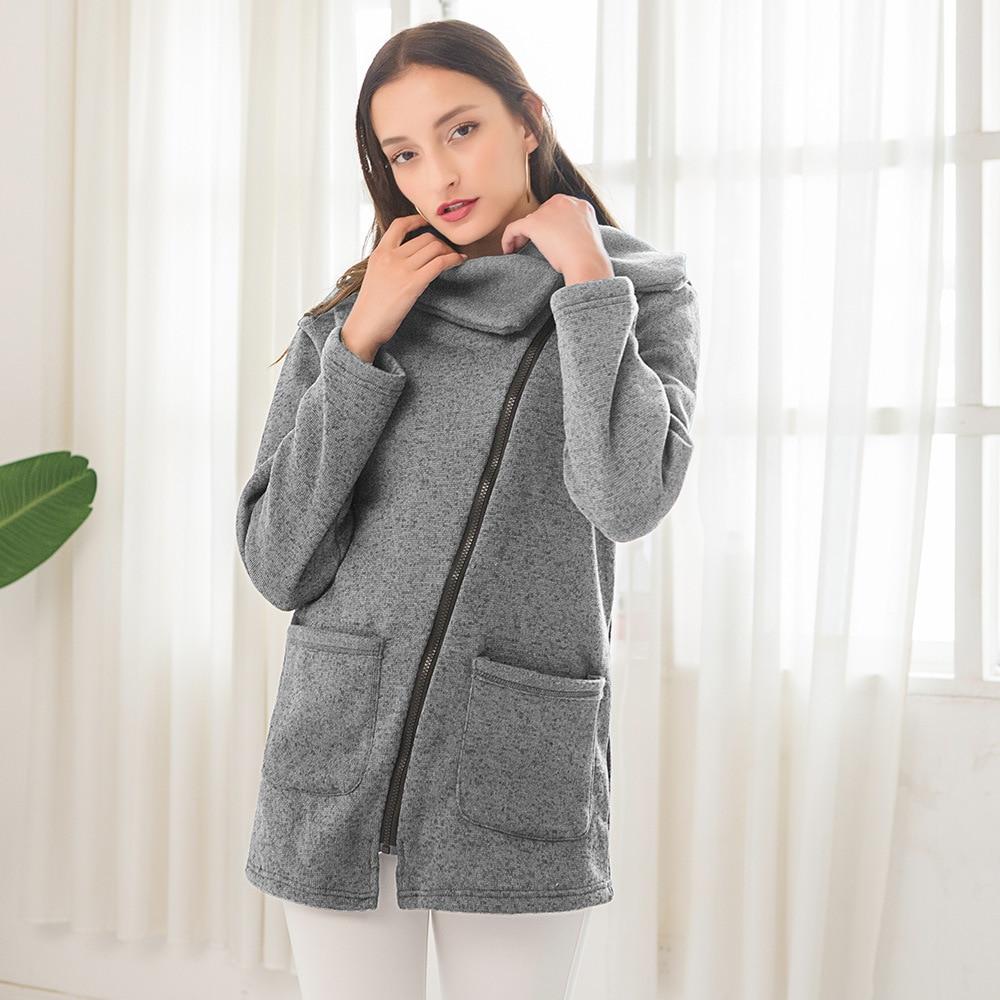 Doble capa de abrigo para mujer Outwear para primavera otoño acolchado cálido sudaderas largas chaquetas con cremallera Casual Lounge-ropa
