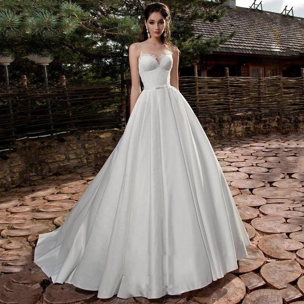Get Elegant Wedding Dresses O Neck Sleeveless Lace Appliques Satin A Line Court Train Beach Bridal Gowns for Women Robe De Mariée