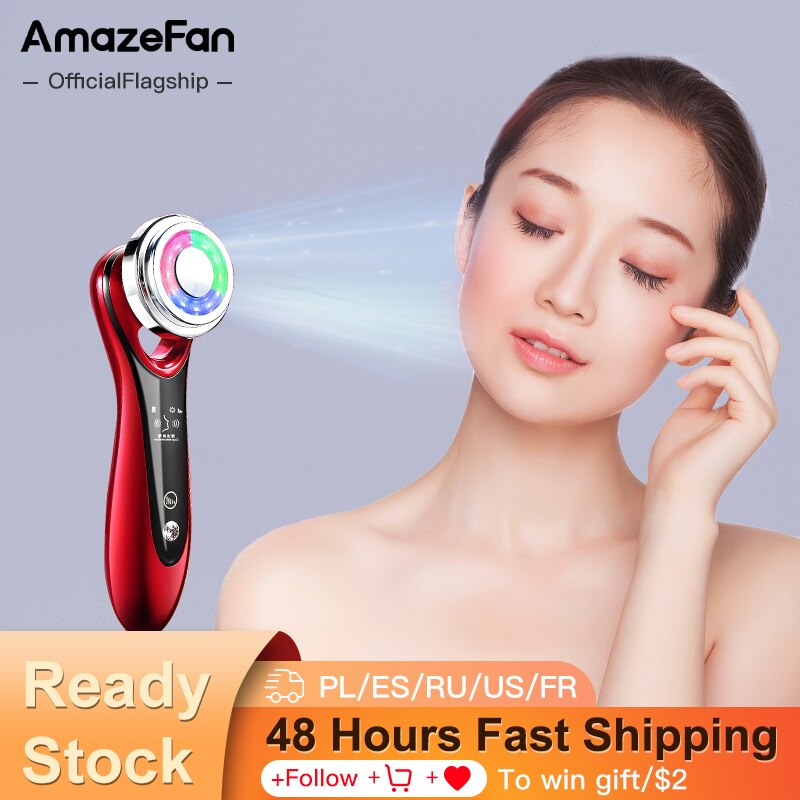 AmazeFan EMS beauty instrument face-lift RF skin rejuvenation hot compress LED phototherapy wrinkle home care facial massage