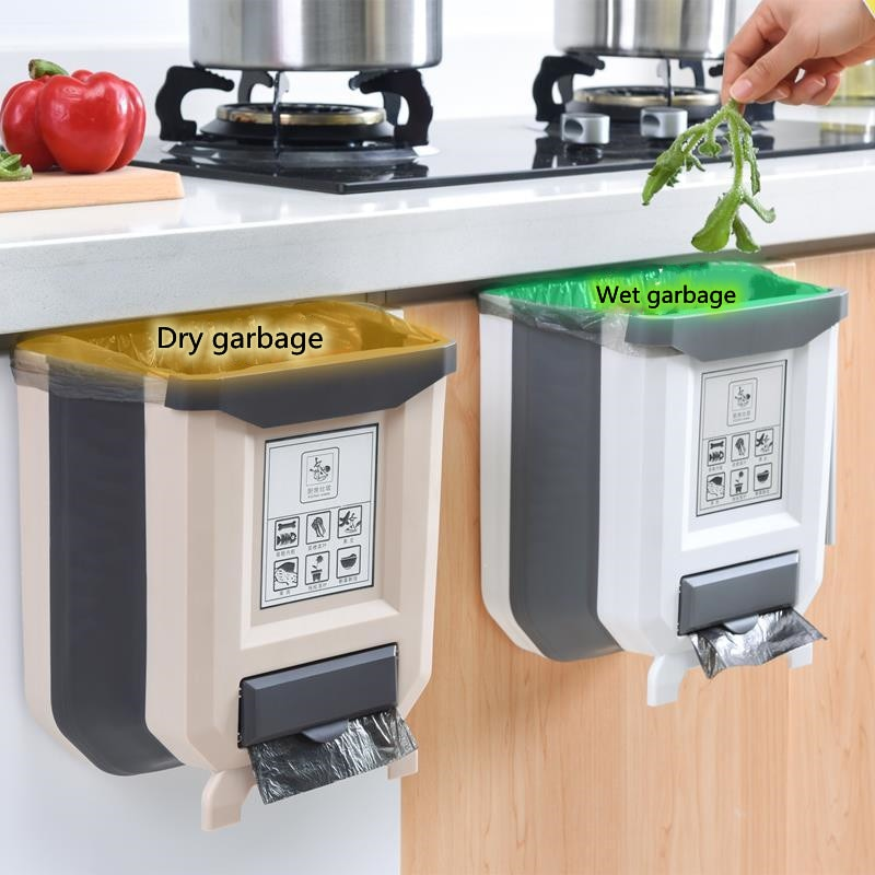 Basura Cubo de basura plegable para cocina armario de cocina puerta de cubo basura de coche de inodoro y almacenamiento de residuos
