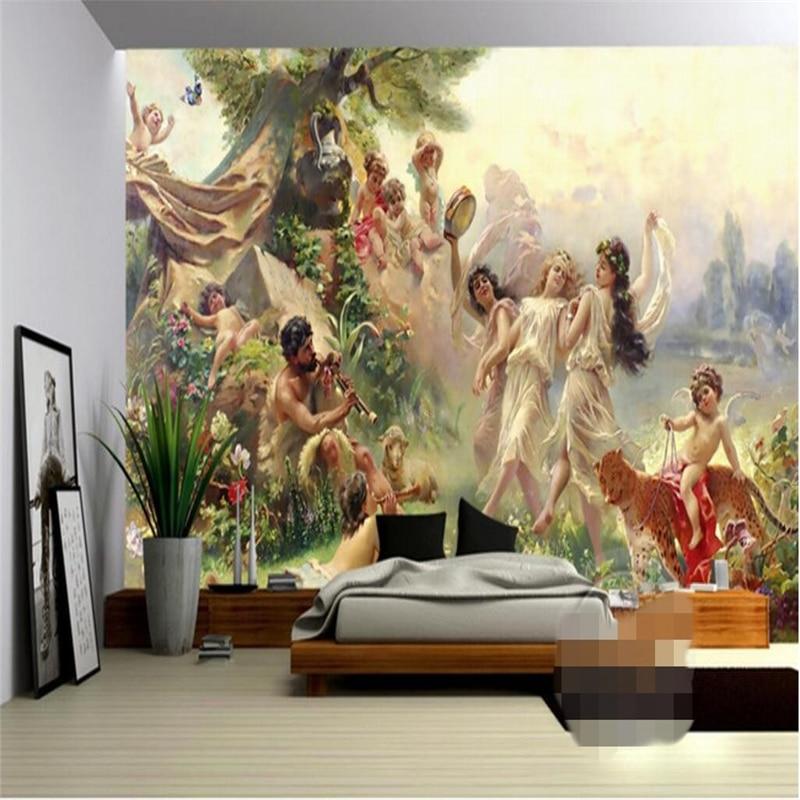 Custom Mural Wallpaper European Style Palace Figure Oil Painting Fresco Restaurant Hotel Living Room Background Wall 3D Tapety
