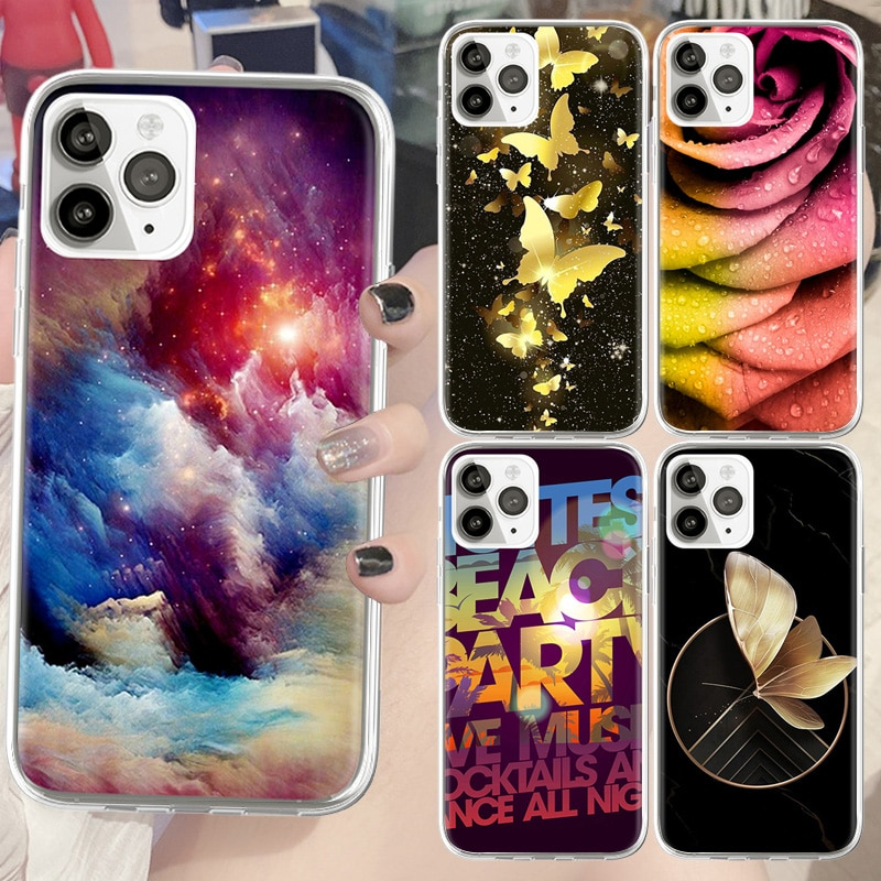 Phone Case for IPhone 6 6s 7 8 Plus XS XR X SE 5S 12 Pro Max Gold Butterfly Printing Soft Silicone S