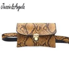 Jiessie & Angela Fanny packs For Women Fashionable Waist Belt Bag Leather Fanny Bags Female Serpentine Phone Bag Shoulder Pack