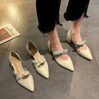 2021 new fashion all match pointed toe shallow mouthed womens shoes thick heel mary jane work single shoes