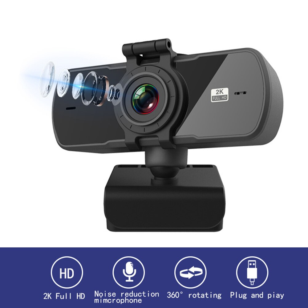 2K كامل HD كاميرا ويب صغيرة مع ميكروفون USB الكمبيوتر المحمول الكمبيوتر كاميرا التركيز التلقائي للكمبيوتر الفيديو لايف مؤتمر العمل