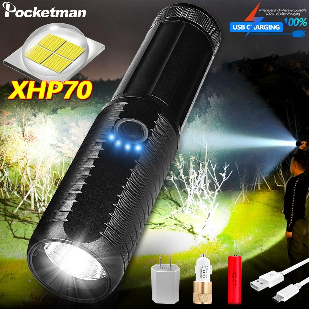 Más brillantes 4 Core XHP70 led linterna usb recargable linterna táctica linternas 18650 o 26650 lámpara T6 lanterna