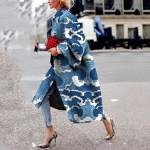 2021 Spring Autumn New Printed Long Flared Sleeves Coat Printing Loose Trench Coat Streetwear Colorf