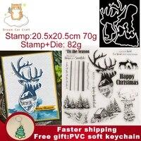 2021 new happy christmas elk trees metal cutting dies and clear stamp for diy painting book greeting card scrapbooking die