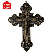 32.5CM mur croix sculpture les douze apôtres icône jésus croix pendentif ornements Jesu Crucifix Rood agneau de dieu INRI bureau décor