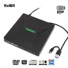 KuWfi USB 3.0 유형 C 휴대용 고속 DVD +/RW 버너 Macbook/Window OS 컴퓨터 용 다채로운 빛 DVD 드라이브 플레이어