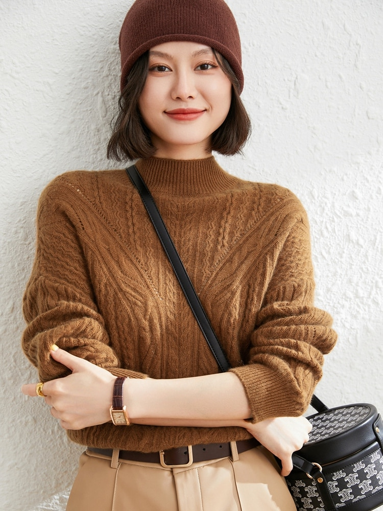 Loose Thick Large Women's Wear New Fashion Lady Pullovers 2021 100% Goat Cashmere Girls Sweaters Knitted Jumpers Knitwear Tops enlarge
