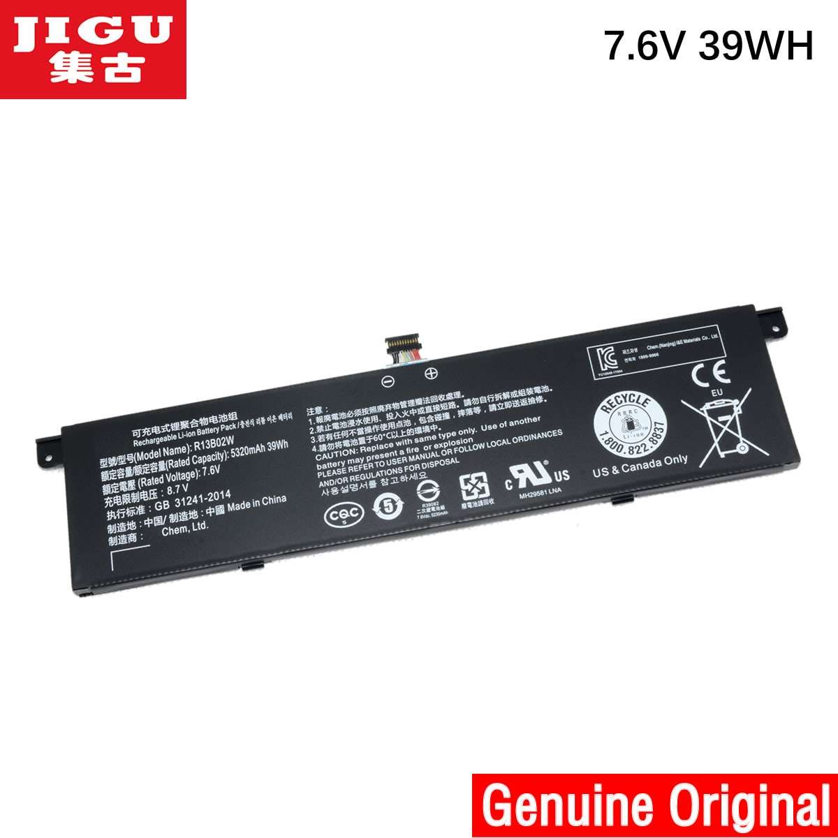 "JIGU 7,6 V 39Wh 5107 mAh/5230 mAh Original R13B02W R13B01W batería del ordenador portátil para Xiaomi mi Air 13,3 ""Serie Tablet R13B02W R13B01W"