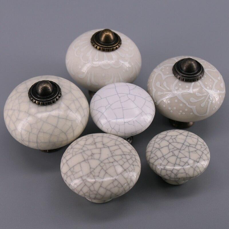 1x manijas y perillas de puerta de cerámica de porcelana redonda Simple para niños