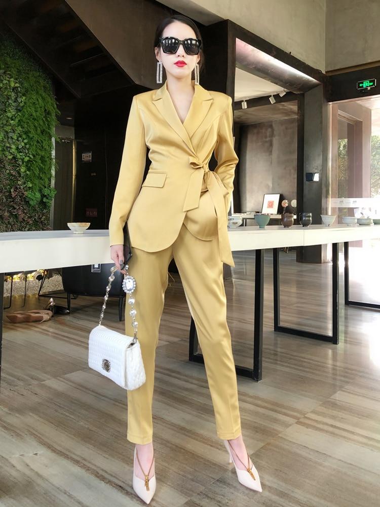 Suit Female Spring European Goods Socialite Temperament Acetate Satin Long Sleeve Suit Jacket Skinny Pants Business
