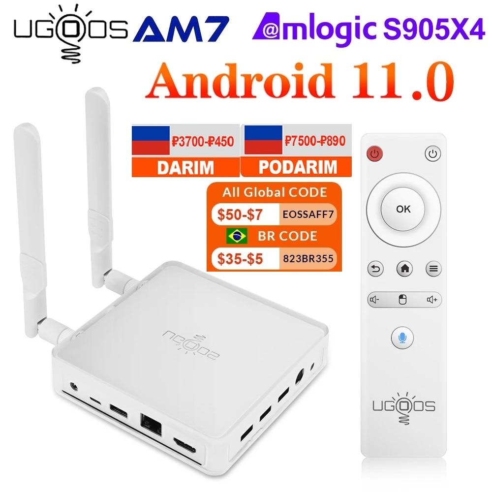 UGOOS AM7 صندوق التلفزيون أندرويد 11 Amlogic S905X4 DDR4 4GB RAM 32GB ROM دعم AV1 CEC HDR WiFi6 1000M BT5.0 OTT 4K TVBOX مجموعة صندوق فوقي
