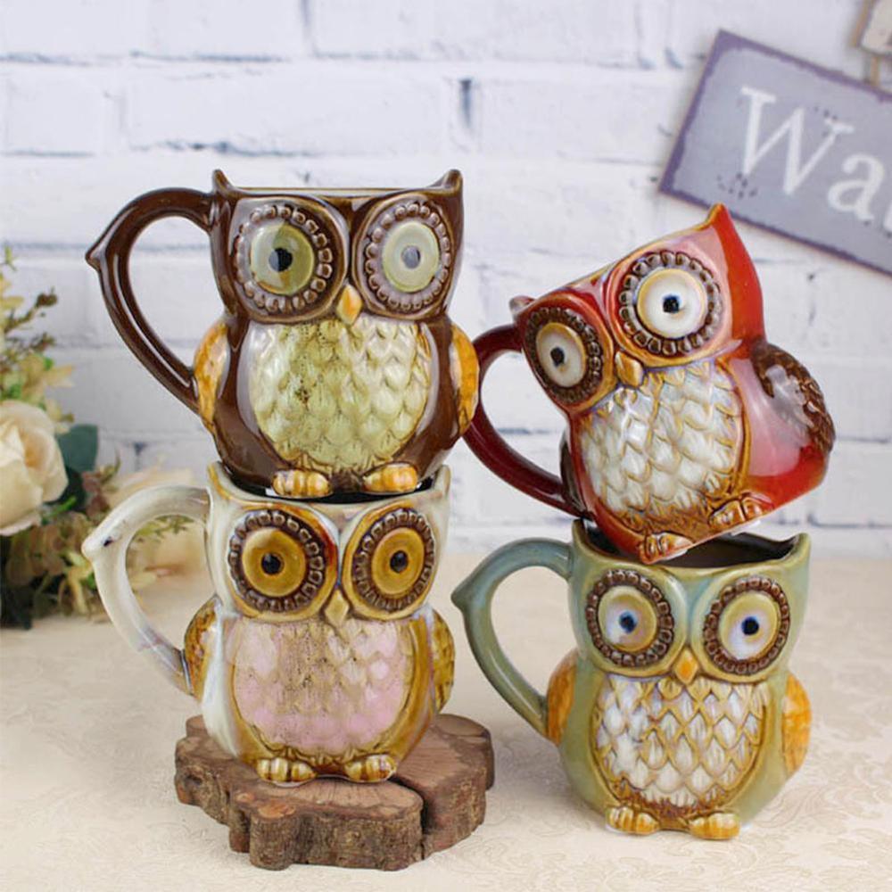 Presente de natal 3d animal criativo bonito coruja canecas 300ml dos desenhos animados caneca de café viagem cerâmica leite chá copos café da manhã porcelana copo