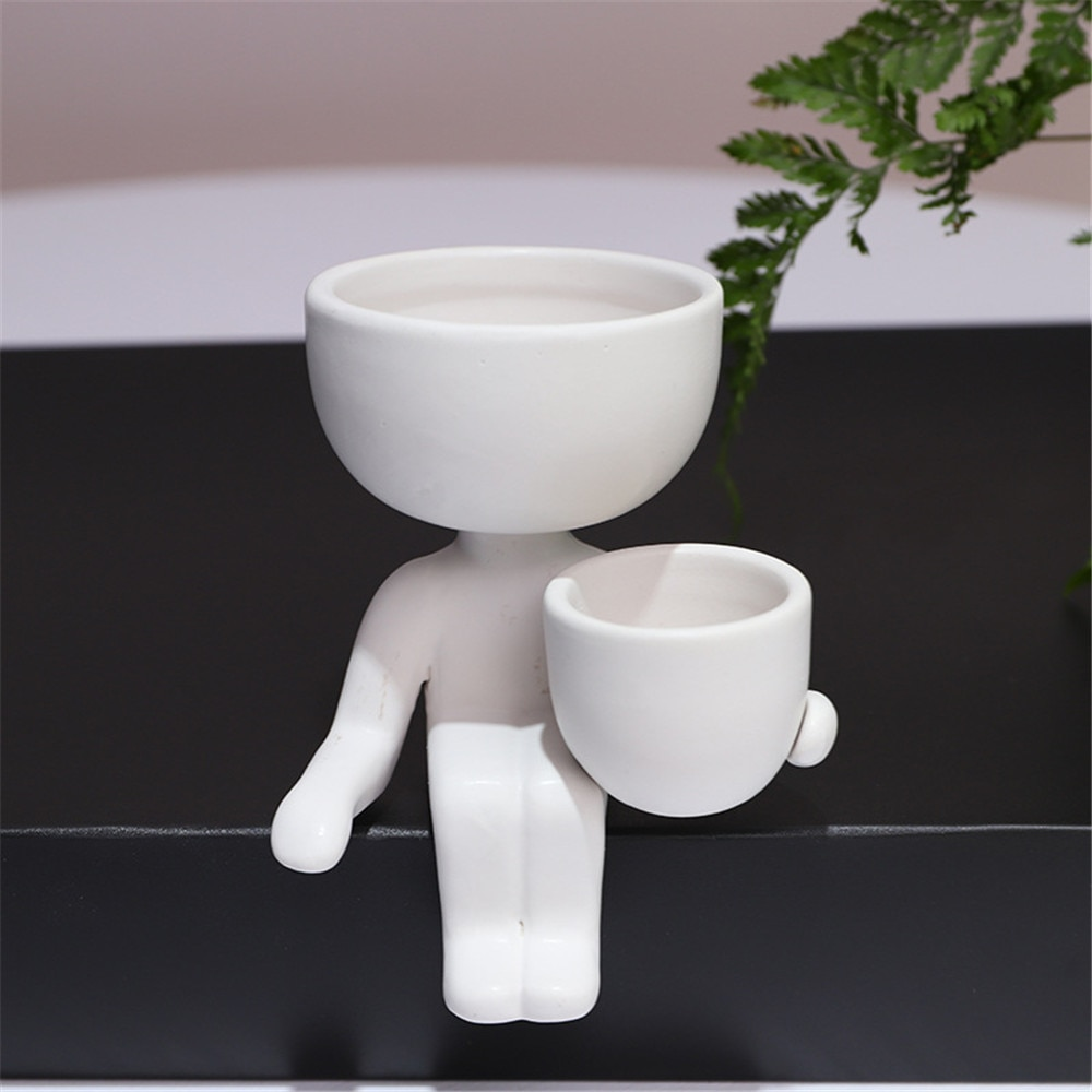 Vază creativă umanoidă din ceramică pentru vase cu flori vase - Produse de grădină - Fotografie 4