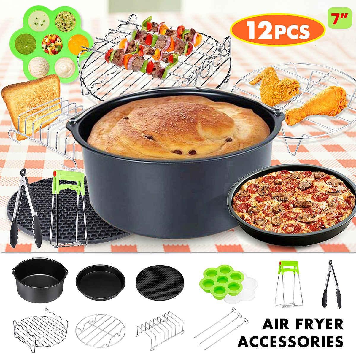 12 Uds accesorios para freidora de aire 7 pulgadas olla de freir al aire freidora pastel barril Rack Pizza Pan plato placa Clip para 3,2-6.8QT aire freidora