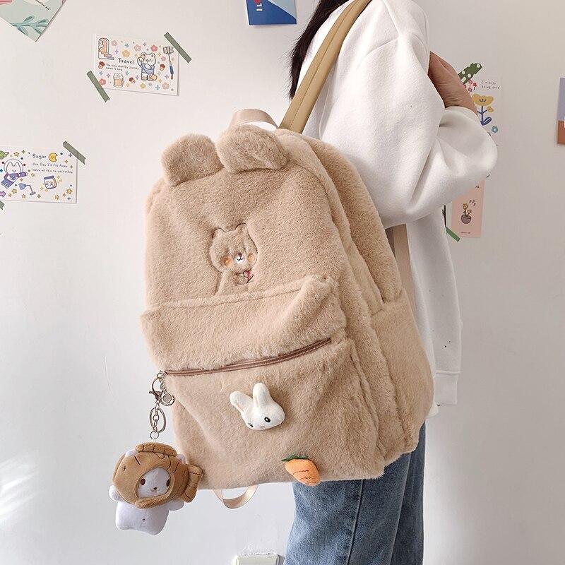 Cartoon Plush Ins Backpack Women Cute School Backpacks Female College Student Schoolbag for Teenage Girls Simple Plush Purse New