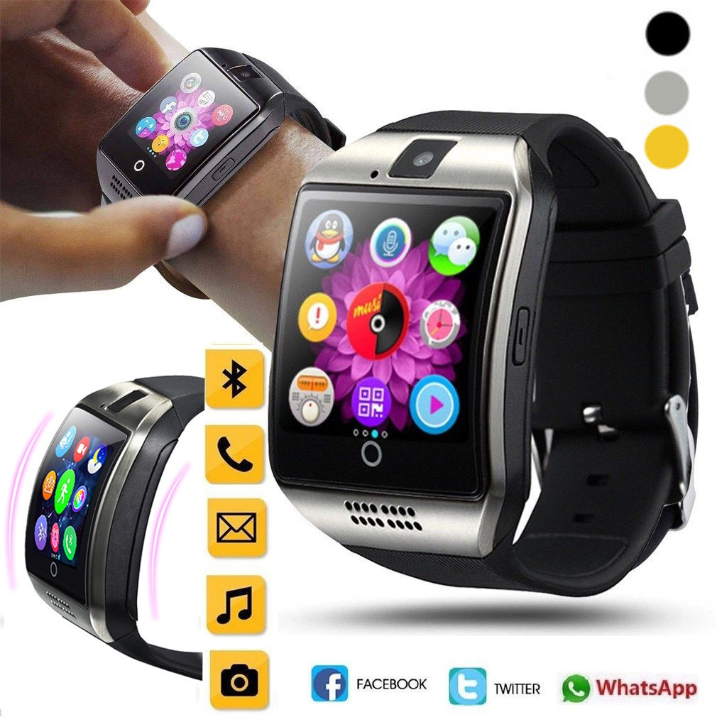 Reloj inteligente Q18 Bluetoth, reloj de pulsera GSM con tarjeta TF para teléfono, reloj inteligente para Android, reloj Masculino # D25