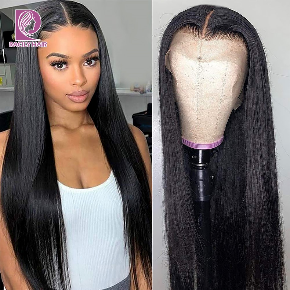 Lace Front Human Hair Wigs For Women 13*4 Brazilian Straight Lace Front Wig 150 180 250 Density Racily Hair 4*4 Lace Closure Wig