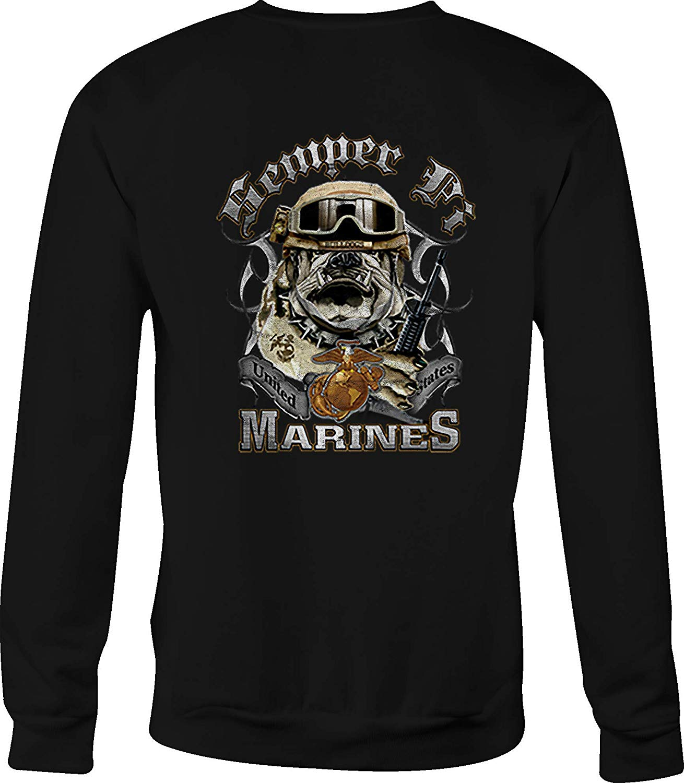 TSDFC USMC sudadera cuello redondo Semper Fi Bulldog para hombre o mujer Unisex hombres mujeres Sudadera con capucha