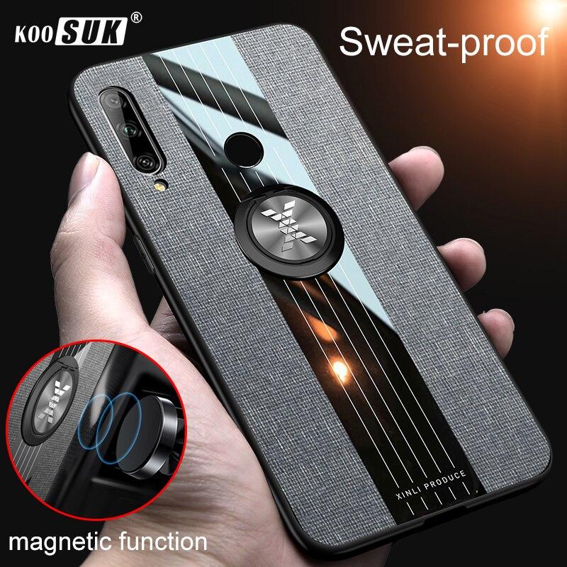 Huawei P Smart Z 2019 чехол Y9 Prime 2019 палец кольцо держатель Телефон задняя крышка для huawei Enjoy 10 Plus ткань жесткий корпус