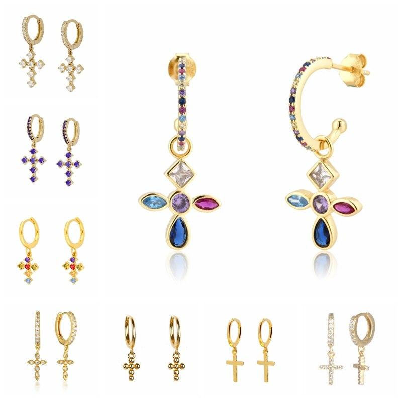 aide-925-стерлингового-серебра-Радуга-Циркон-крест-маленькие-серьги-кольца-для-женщин-простой-циркон-кристалл-huggie-ювелирные-серьги-в-подарок