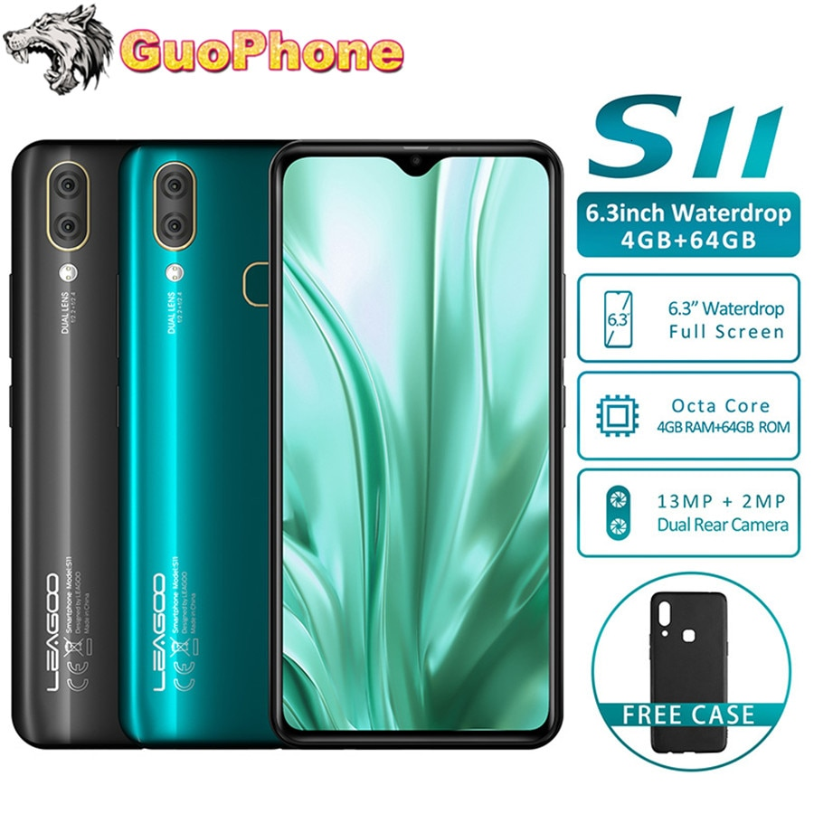 LEAGOO S11 смартфон 4 Гб Оперативная память 64 Гб Встроенная память 6,3 дюйм в виде капли воды, Дисплей Android 9,0 Helio P22 Octa Core 13MP отпечатков пальцев мобильный...